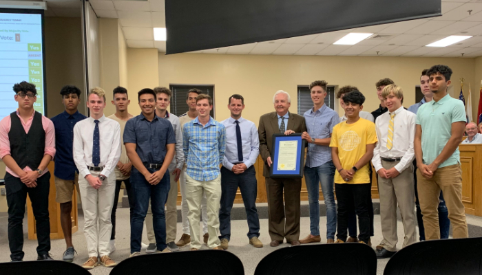 Boys Soccer Team Honored by County Commission