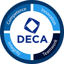 DECA, Competence, Innovation, Teamwork, Integrity Logo