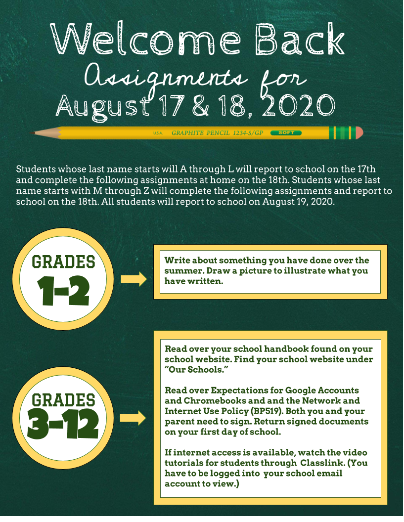 Welcome Back Assignments Graphic