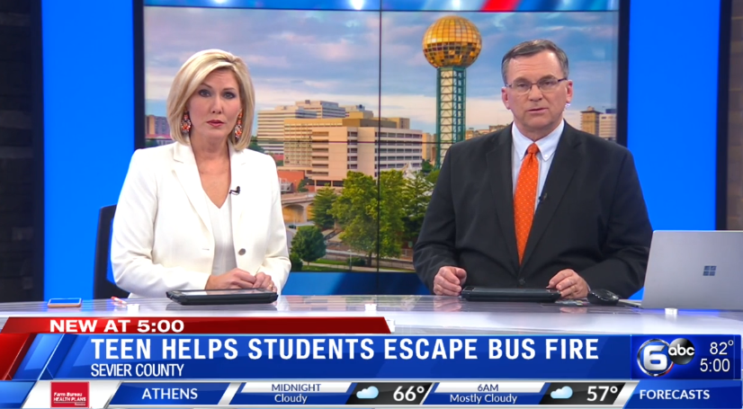 Teen helps students escape Sevier County bus fire