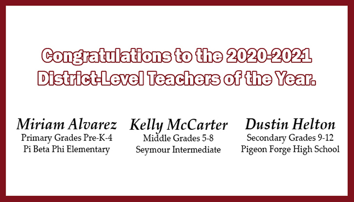 2020-2021 District Level Teachers of the Year