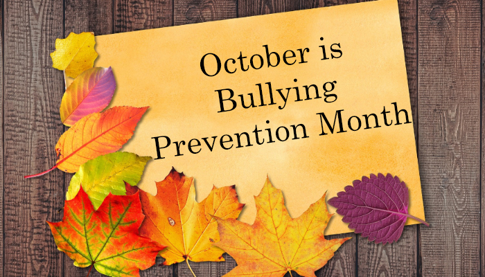 Fall leaves with October Bullying Prevention month